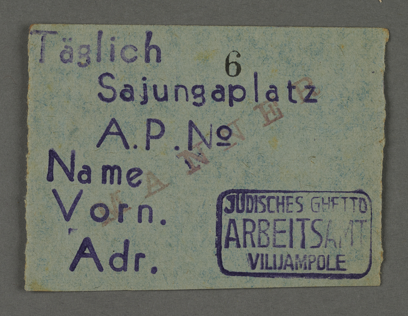 1995.89.442 front Work assignment slip from the Kovno ghetto