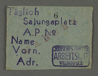1995.89.442 front Work assignment slip from the Kovno ghetto  Click to enlarge