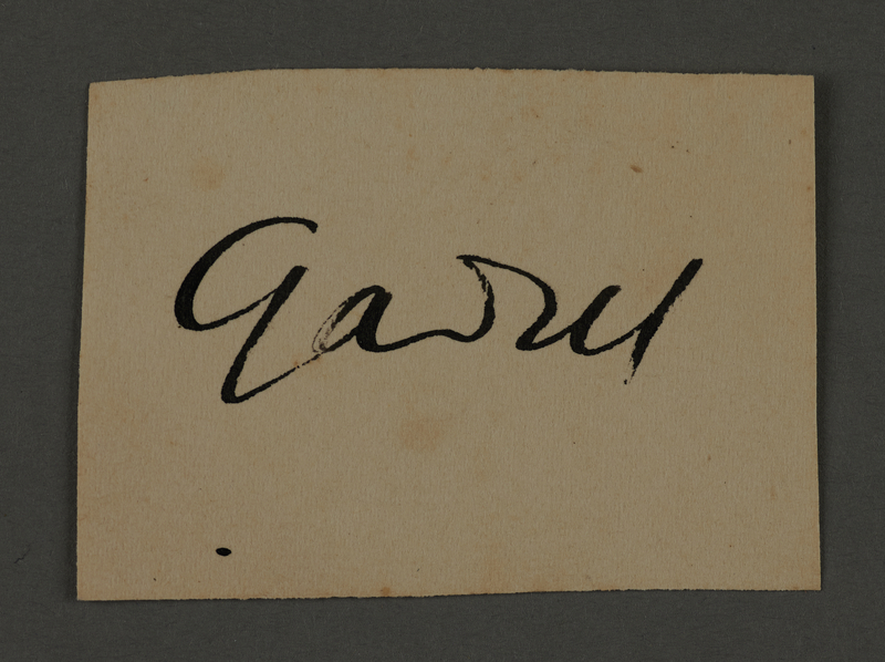 1995.89.443 front Signature of Fritz Gadiel, head of the Graphics Department in the Kovno ghetto