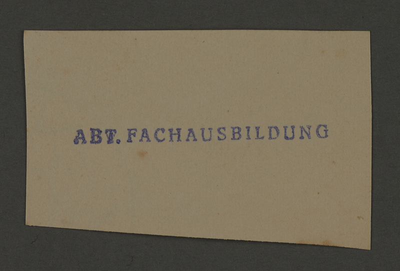 1995.89.444 front Ink stamp impression for Kovno ghetto Vocational School