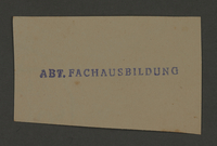 1995.89.444 front Ink stamp impression for Kovno ghetto Vocational School  Click to enlarge