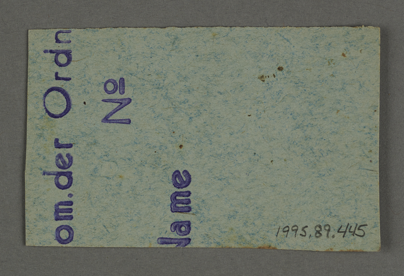 1995.89.445 back Work assignment slip from the Kovno ghetto