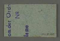 1995.89.445 back Work assignment slip from the Kovno ghetto  Click to enlarge