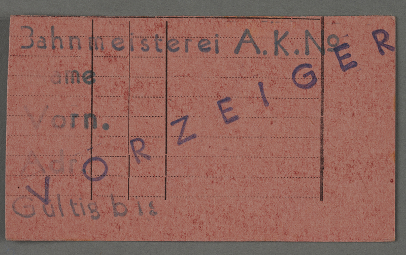 1995.89.446 front Work assignment slip from the Kovno ghetto
