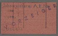1995.89.446 front Work assignment slip from the Kovno ghetto  Click to enlarge