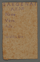 1995.89.447 front Work assignment slip from the Kovno ghetto  Click to enlarge