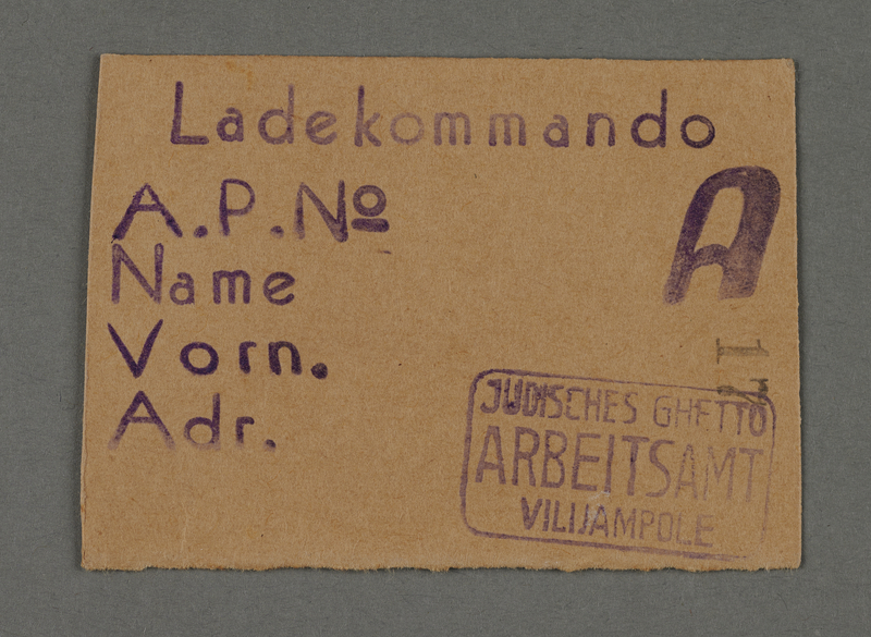 1995.89.450 front Work assignment slip from the Kovno ghetto