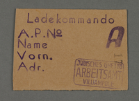 1995.89.450 front Work assignment slip from the Kovno ghetto  Click to enlarge