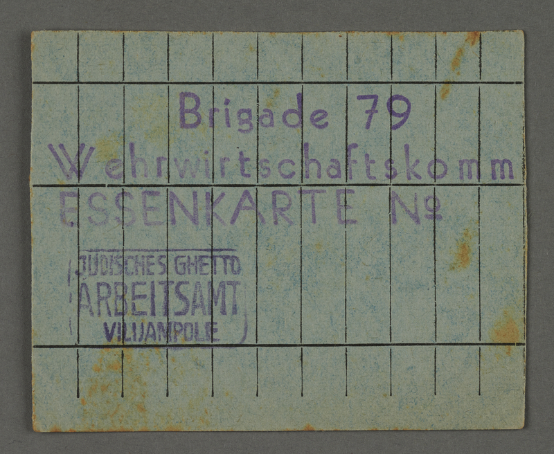 1995.89.451 front Food card issued by the Labor Office of the Kovno ghetto