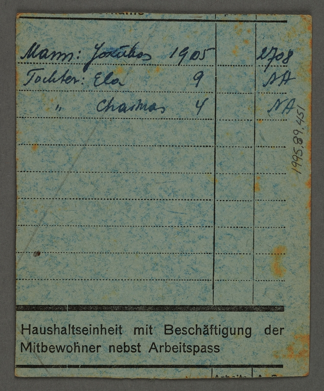 1995.89.451 back Food card issued by the Labor Office of the Kovno ghetto