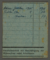 1995.89.451 back Food card issued by the Labor Office of the Kovno ghetto  Click to enlarge
