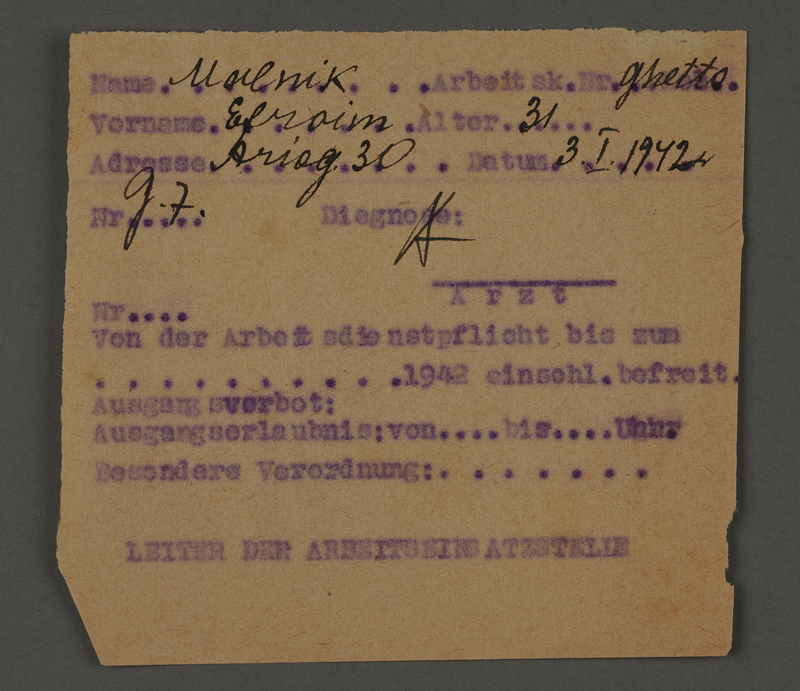 1995.89.452 front Work permit issued by the Leader of the Work Force Bureau in the Kovno ghetto