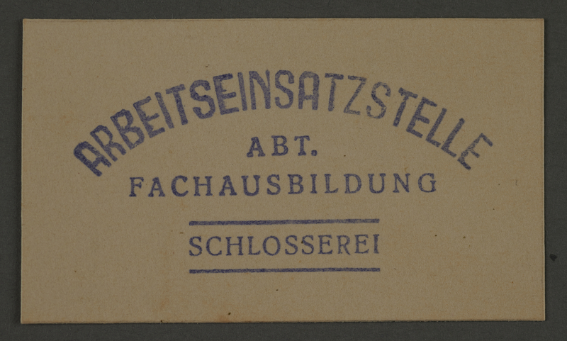 1995.89.453 front Ink stamp impression of the Vocational Education locksmith workshop in the Kovno ghetto