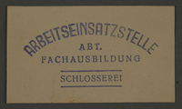 1995.89.453 front Ink stamp impression of the Vocational Education locksmith workshop in the Kovno ghetto  Click to enlarge