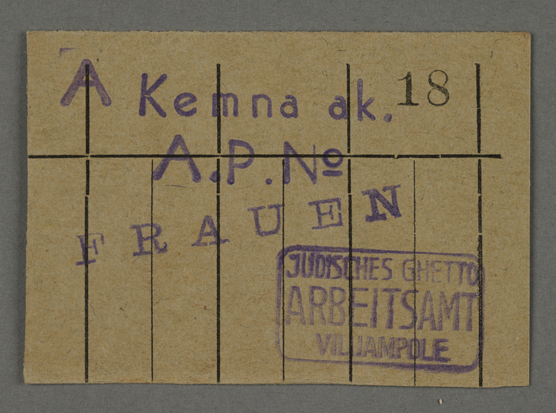 1995.89.455 front Work assignment slip from the Kovno ghetto