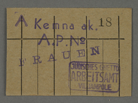 1995.89.455 front Work assignment slip from the Kovno ghetto  Click to enlarge