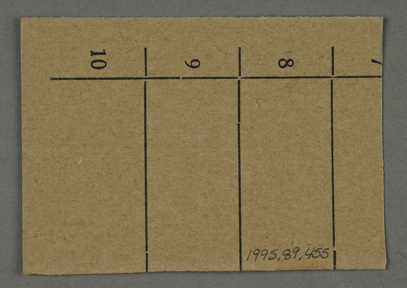 1995.89.455 back Work assignment slip from the Kovno ghetto
