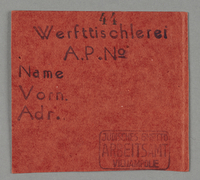 1995.89.456 front Work assignment slip from the Kovno ghetto  Click to enlarge