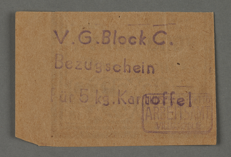 1995.89.457 front Earnings coupon issued by the Labor Office of the Kovno ghetto