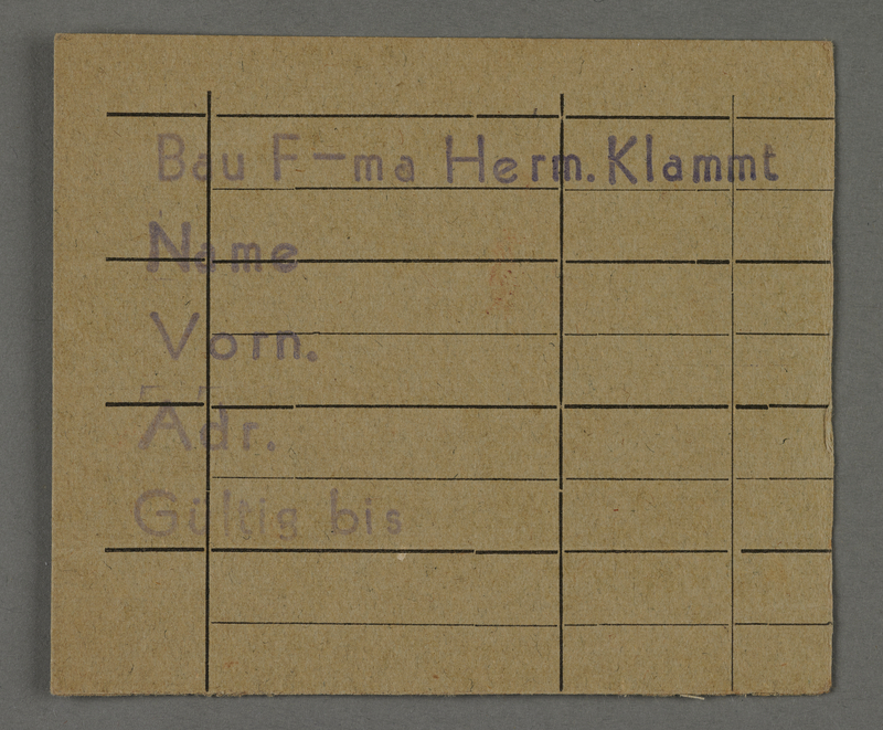 1995.89.462 front Work assignment slip from the Kovno ghetto