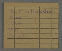 1995.89.462 front Work assignment slip from the Kovno ghetto  Click to enlarge