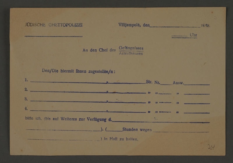 1995.89.464 front Permit to be issued by the Jewish Ghetto Police in the Kovno ghetto