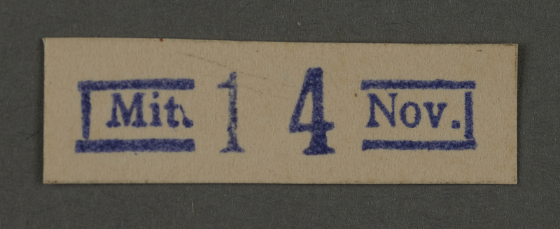 1995.89.469 front Ink stamp impression from an administrative department of the Kovno ghetto