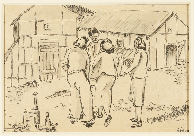 1988.1.38 front Drawing of women gathered outside of buildings by a German Jewish internee
