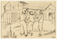 1988.1.38 front Drawing of women gathered outside of buildings by a German Jewish internee  Click to enlarge