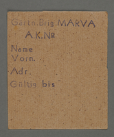 1995.89.475 front Work assignment slip from the Kovno ghetto  Click to enlarge