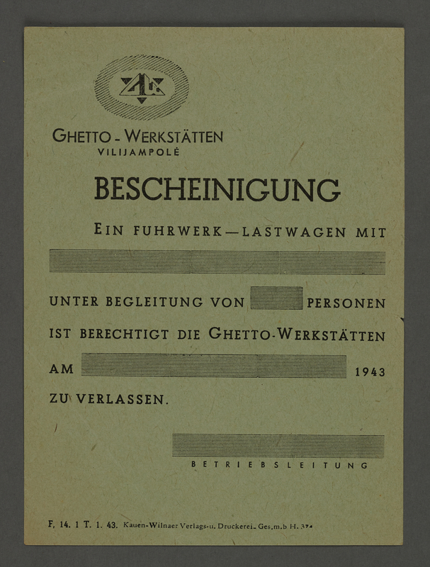 1995.89.479 front Transport certificate for the Kovno ghetto