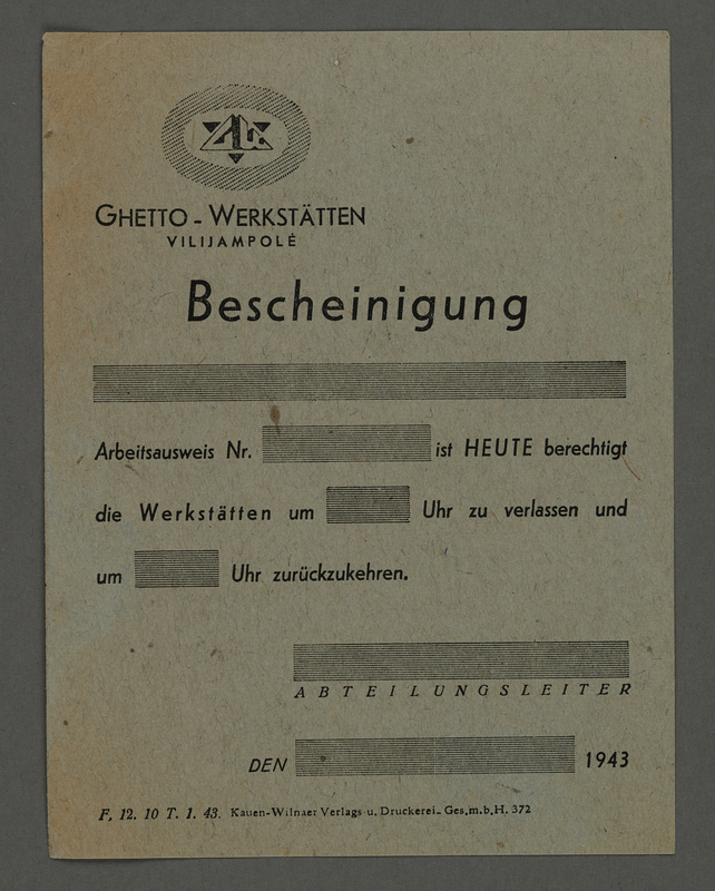 1995.89.480 front Transport certificate for the Kovno ghetto