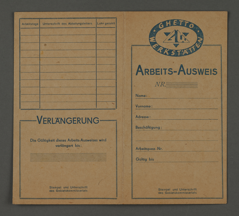 1995.89.482 front Work identification card issued by the Ghetto Workshops in the Kovno ghetto