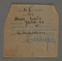 1995.89.483 front Work assignment slip from the Kovno ghetto  Click to enlarge