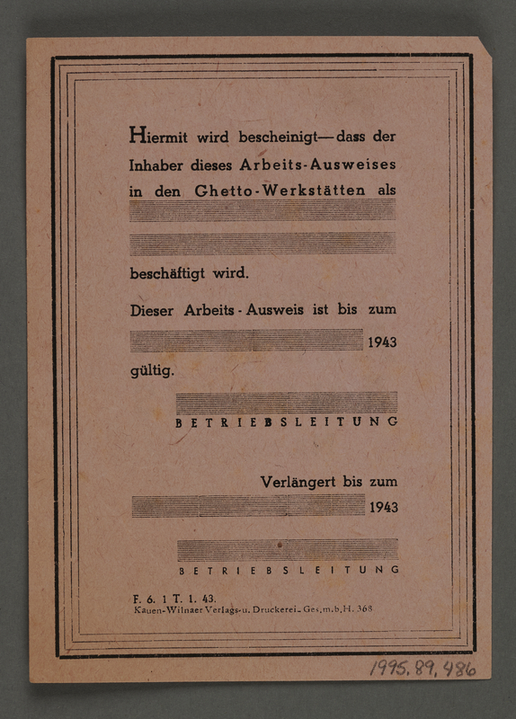 1995.89.486 back Temporary work-identification papers from the Kovno ghetto workshops