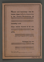 1995.89.486 back Temporary work-identification papers from the Kovno ghetto workshops  Click to enlarge