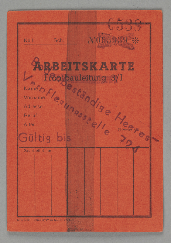 1995.89.487 front Work permit to be issued in the Kovno ghetto