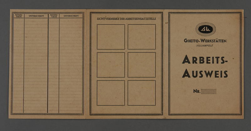1995.89.489 front Work identification card issued by the Ghetto Workshops in the Kovno ghetto