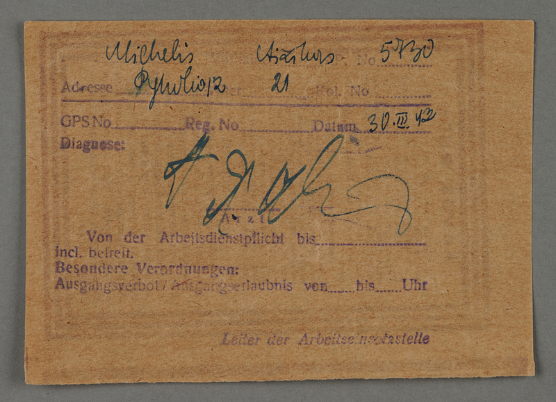 1995.89.493 front Health office diagnosis from the Kovno ghetto