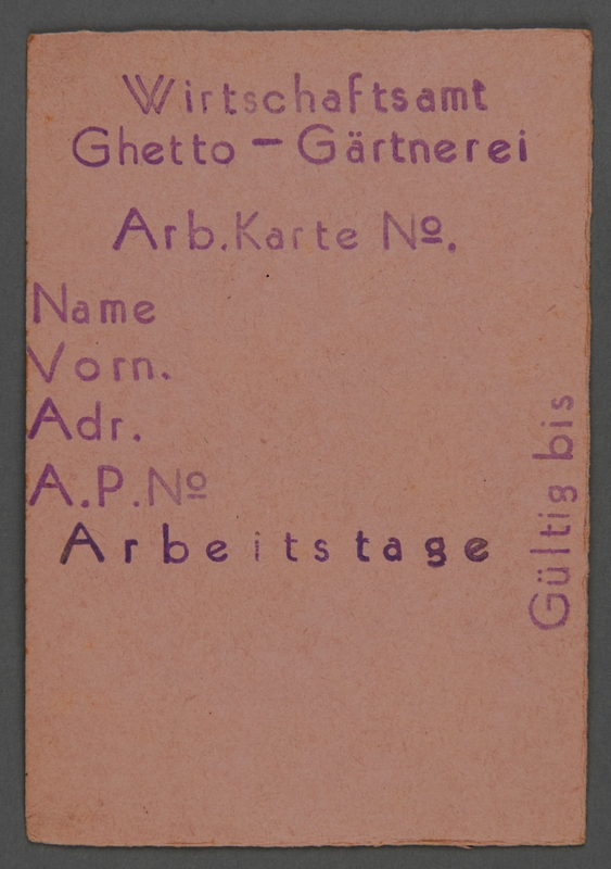 1995.89.497 front Work assignment slip from the Kovno ghetto