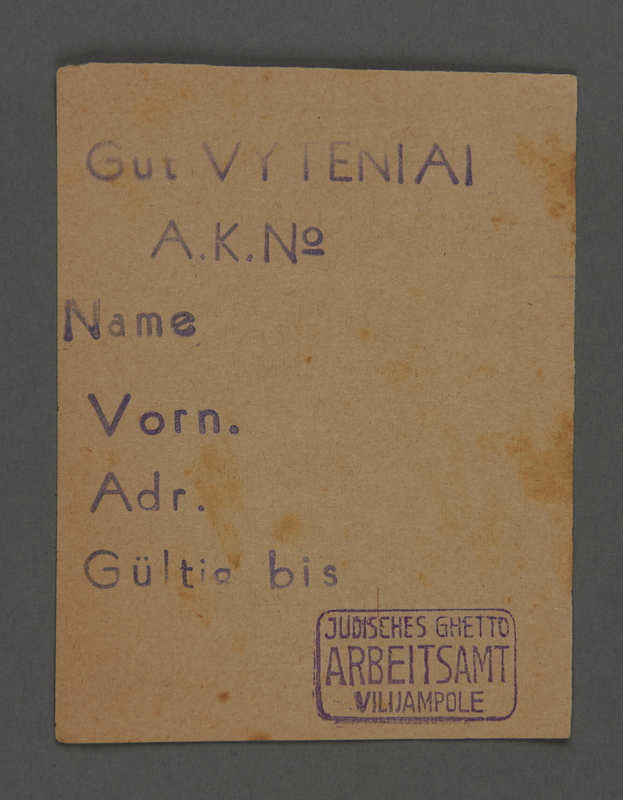 1995.89.500 front Work assignment slip from the Kovno ghetto