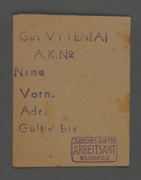 1995.89.500 front Work assignment slip from the Kovno ghetto  Click to enlarge