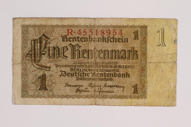 2014.426.3 front German 1 (Eine) Rentenmark note