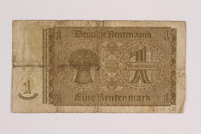 2014.426.3 back German 1 (Eine) Rentenmark note