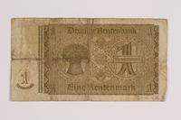 2014.426.3 back German 1 (Eine) Rentenmark note  Click to enlarge