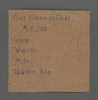 1995.89.501 front Work assignment slip from the Kovno ghetto  Click to enlarge