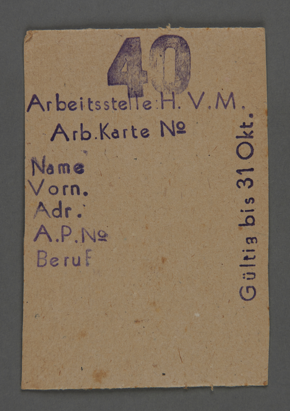 1995.89.502 front Work assignment slip from the Kovno ghetto