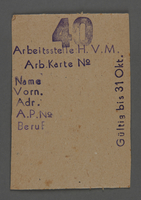 1995.89.502 front Work assignment slip from the Kovno ghetto  Click to enlarge
