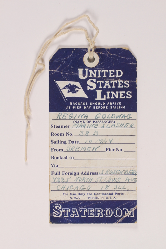 2014.426.4 front Luggage tag used by a Polish Jewish survivor