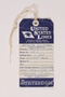 Blue and white United States Line luggage tag used by a Polish Jewish refugee